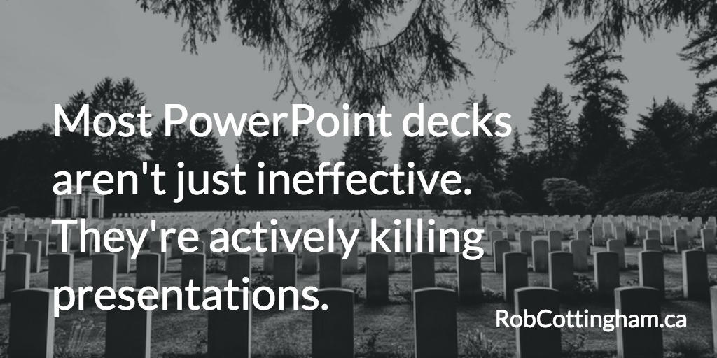 Stop the downward slide: Eric Bergman's '5 Steps to Conquer Death by PowerPoint'